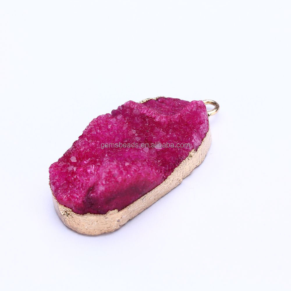 2017 Ebay hot sell crystal druzy pendant jewelry drop shipping low MOQ large varieties for mix order