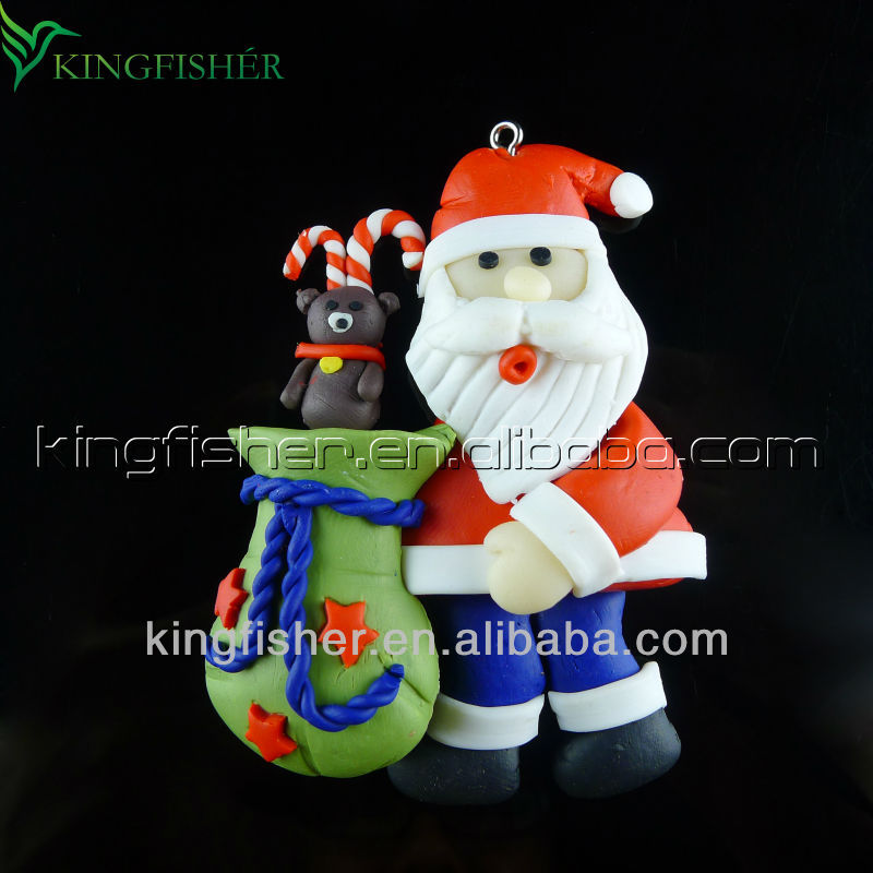 Promotions!! Lovely Christmas Santa claus Polymer clay Christmas pendants charms for DIY Christmas Decorations!! 75x55mm!! !!