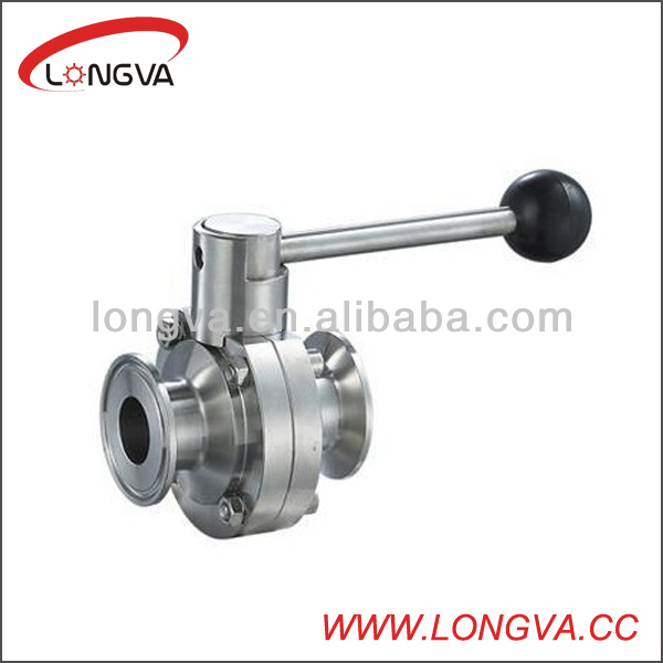 tc end stainless steel butterfly ball valve clamped manufacturer