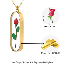 In Stock Unique Gift Idea Fresh Real Rose Bud Flower Pendant Plated 18k Gold Necklace Engraved Love Jewelry As Valentine Gift