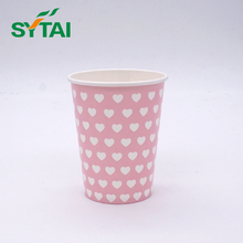 Disposable single wall paper cup mixed color printed blue and white stripe cold drink paper cup 2.5oz-24oz