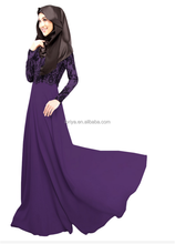 hot selling islamic kaftan plain malaysia purple baju kebaya muslim women long dress