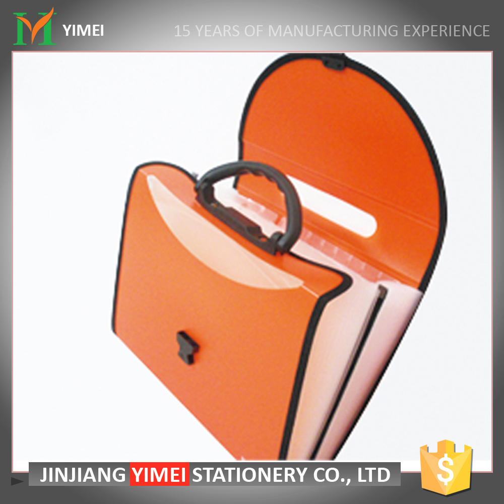 hot sale expanding plastic envelope folder with handle and bound