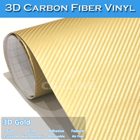 CARLIKE Cell Phone Wrap Gold Colored 3D Carbon Fiber Vinyl Film