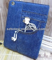 Classic Jean pocket leather case for ipad mini with holder