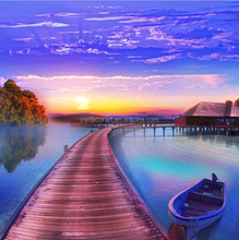 Good quality print canvas landscape with boat