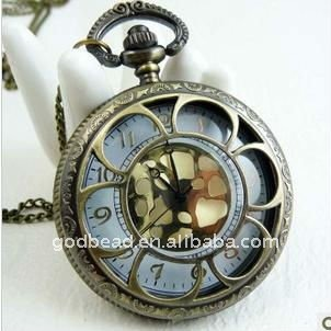 W68 wholesale Antique brass bronze pocket watch chain charm pendant watch necklace nickel free lead free