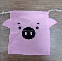 HOT SALE lovely small pink pig bag cotton drawstring bags for kid