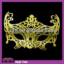 Decorative Glitter Gold Color Masquerade Party Mask For Theme Party