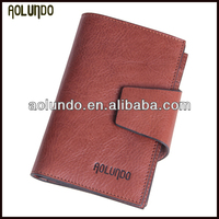 Fashion design tanned leather clip wallet name card holder