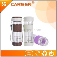 Separation of tea multiple functions double wall glass water bottle