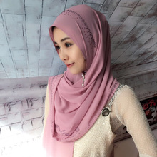 New design big size chiffon crinkled pearls hijabs women solid shawl nice beads scarf muslim head wraps elegant scarves 3pcs