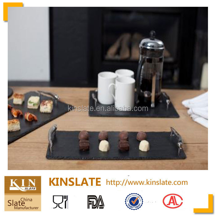 [factory direct] slate cheese board 30*15cm Cut Edge rectangular Shape Slate Plate Item