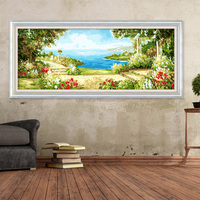 Love sea scenery abstract oil painting for bedroom wall decor on canvas