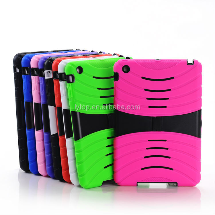 3 in1 PC Silicone With Stand Heavy Duty Case for iPad mini retina
