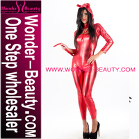 Newest Shiny Sexy Girls Red Latex Hooded Catsuit