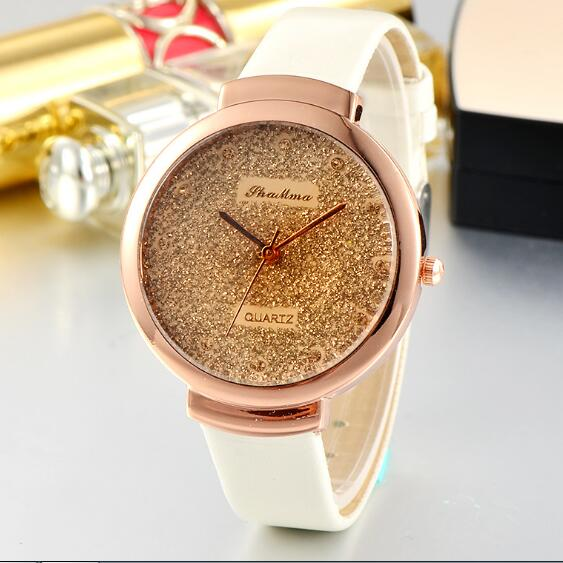 Modern Style Hot Sale Fashion PU leather Big Dial for Women Sand Surface Watch