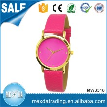2016 custom miyota pink genuine leather own brand watch for lady