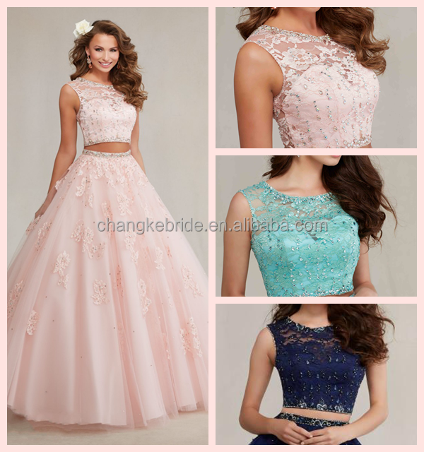 Two Pieces Beaded Bodice Ball Gown Tulle Quinceanera Dresses Bodice Ball Gown with detached skirt