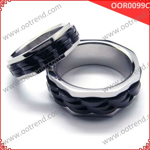 Gear Rings, gear couple stainless steel rings with shiny polished and pvd plated black finish