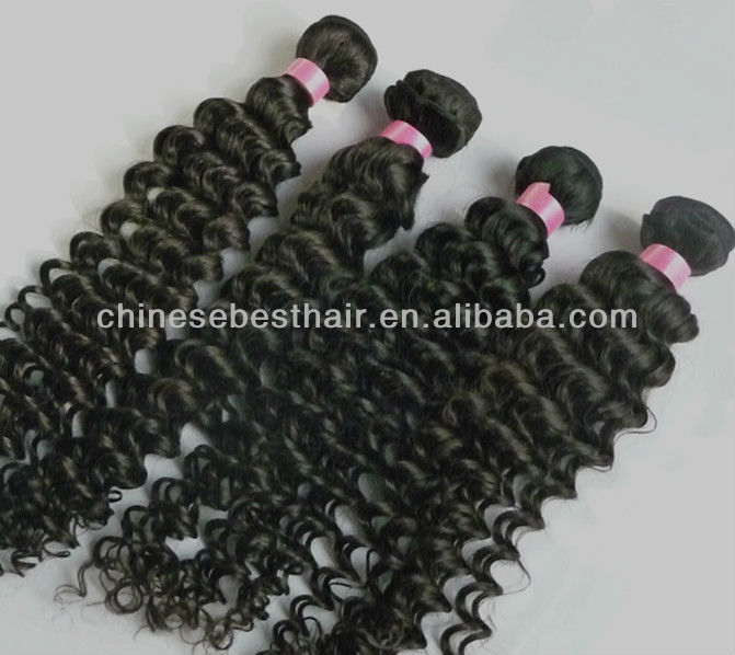 AAAA wavy and curly hair bundles tangle free natural color brazilian hair weave