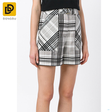 New Style Fashion Belted Plaid Shorts