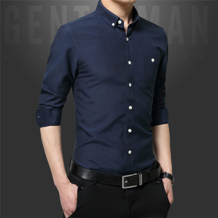 Manufacturers selling long sleeve shirt Korean stitching slim young model men Oxford spinning shirt