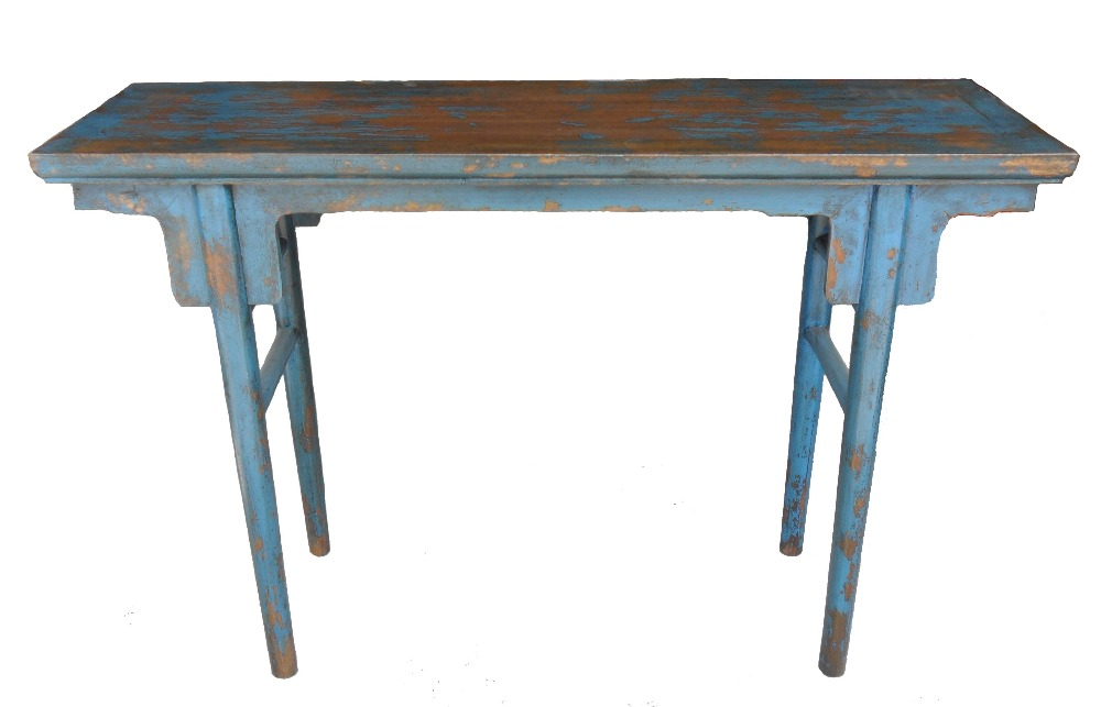 Chinese antique reproduction blue altar table LWD436