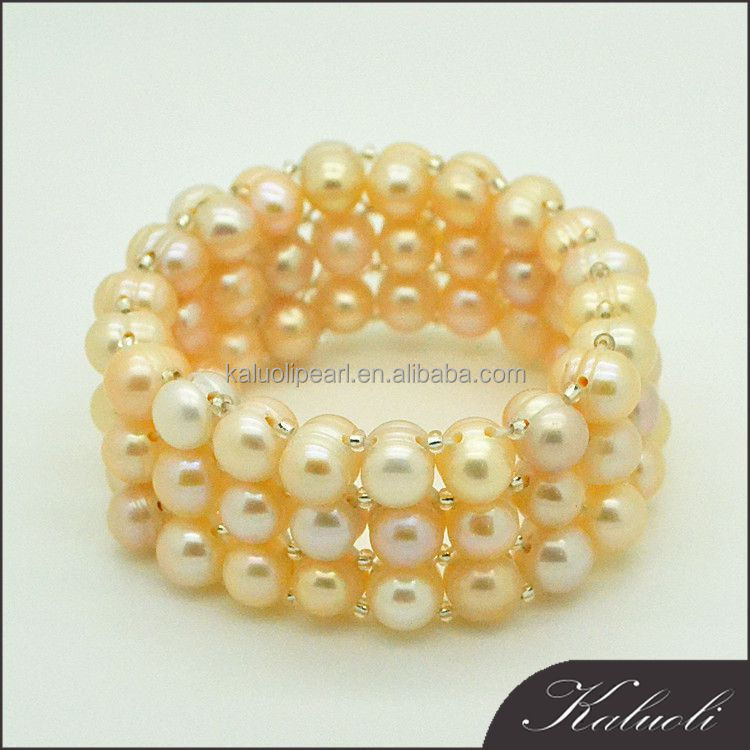 Fabric triple rows wide freshwater pearl natural stone bead bracelet