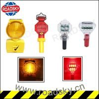 Traffic Security Yellow Solar Road Hazard Warning Light For Post Cone