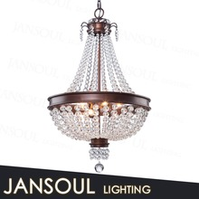 christmas decorative lighting modern wrought iron chandelier candel pendant lamp with clear crystal balls for hotel living room