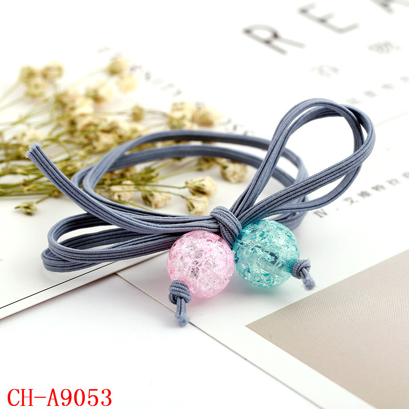 flat elastic cord bow tie shape knot hair band accessories with plastic beads