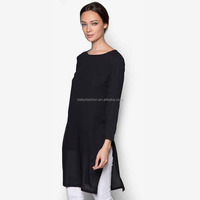 New design side slit tunic top women t shirt long sleeve women tshirt o neck women t shirt with hijab muslim clothing