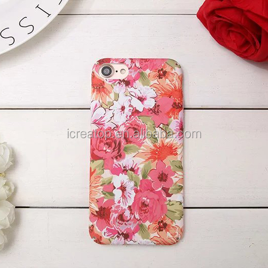 PC Fashion Flower pattern Cover Phone Case For iPhone 7 Case,night light noctilucous phone case for iphone 7 plus