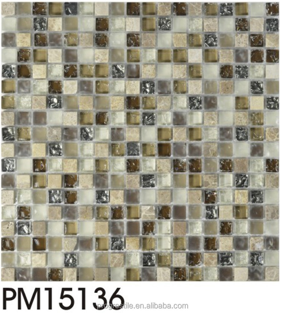Bathroom mosaic, glass mix stone mosaic tiles (PM15136)