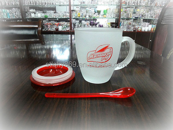 Frosted glass price China printed tea set glass blank coffee mugs wholesale clear glass coffee cup with red plastic cover&spoon