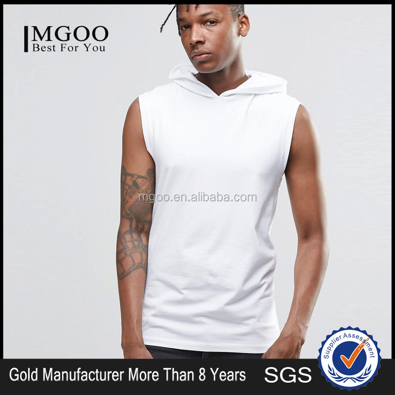 MGOO Wholesale Street Wear Muscle Sleeveless T Shirt With Hood In White Casaul Sport Wear