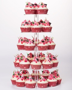 5 Tiers Round Wedding Birthday Party Cake Dessert Stand With Base Tower Tree Acrylic Cupcake Display Stand