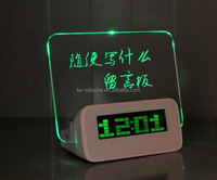 Green Backlight Acrylic Memo Board Led Table Alarm Calendar Clock