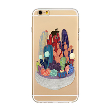 Custom Design Shockproof Soft Silicone Cactus Print Clear Cell Phone Case For Iphone 8 Plus