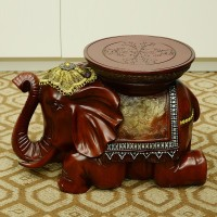 Resin Indoor Decorative Elephant Statues Red Elephant Stool Souvenir Horse Craft