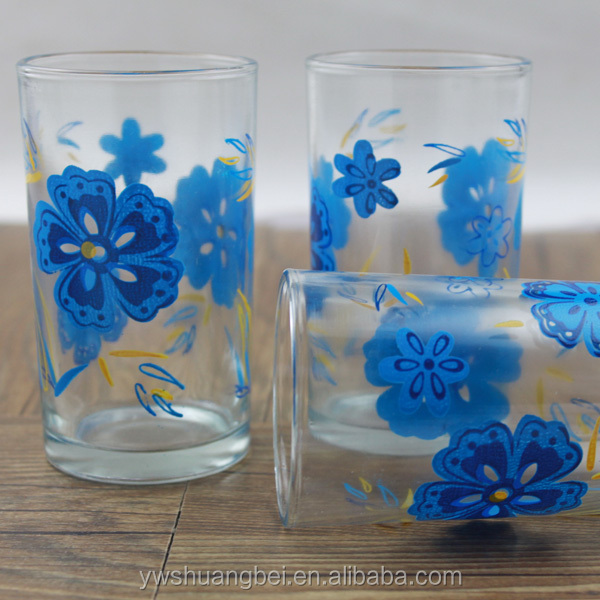 Custom LOGO Drinking Water Glass Tableware cup decoration Pattern printing tumbler glass set
