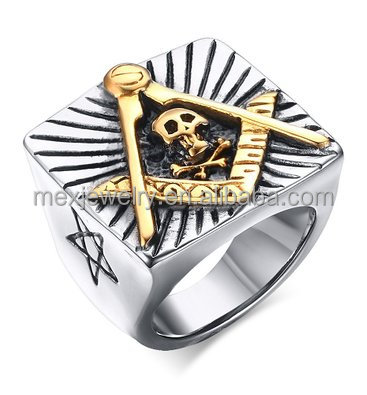 Stainless Steel Two-tone Large Size Flat Face Antique Masonic Skull Rings for Men