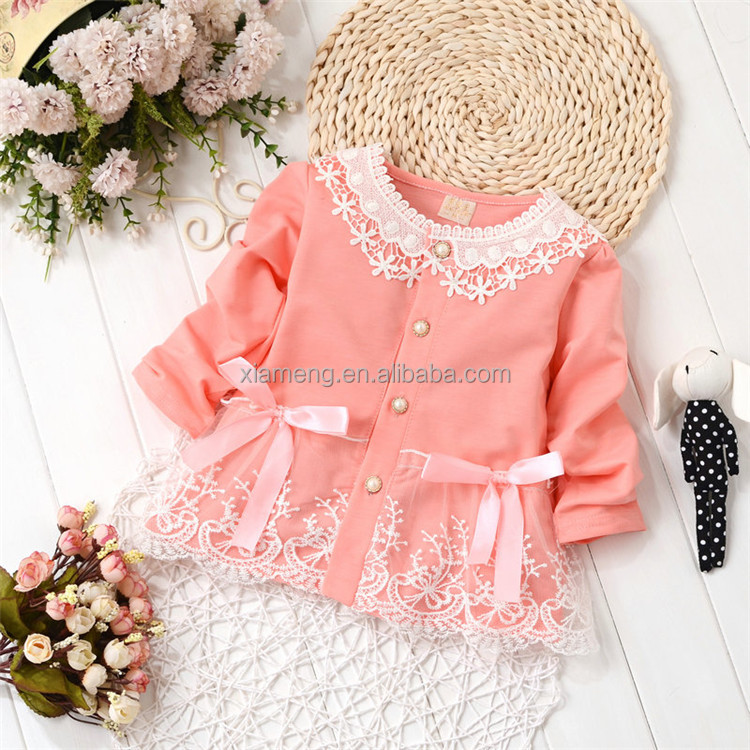 2016 Spring new design long sleeve lace cardigan Girls spring casual frock