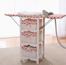 Solid wood clothes folding ironing board table with wicker baskets and storage cabinet