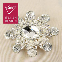 2015 Beautiful Fashion flower rhinestone brooch and scarf clips