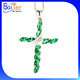 Unique Custom Rhodium Plated CZ 925 Sterling Silver Lab Created Emerald Cross Pendant