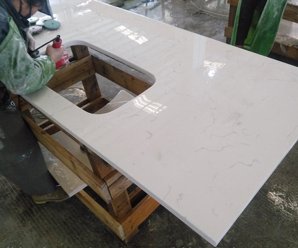 White Carrara Quartz Stone Bar Table Top Counter Top Salad Bar