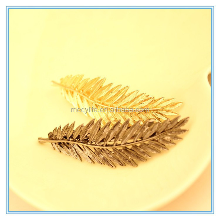 MECY LIFE wholesale unique design women gold metal feather feather hair accessories