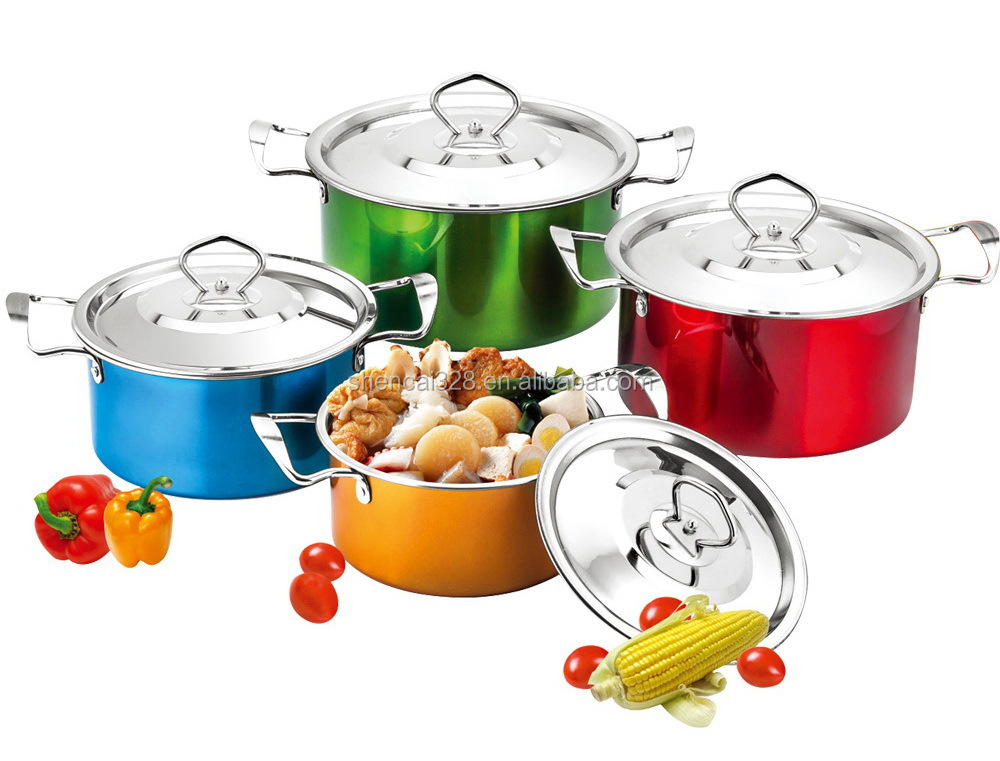New Arrived Colorful Stainless Steel Cooking Pot / Hot Pot / Insulated Casserole with S/S Cover